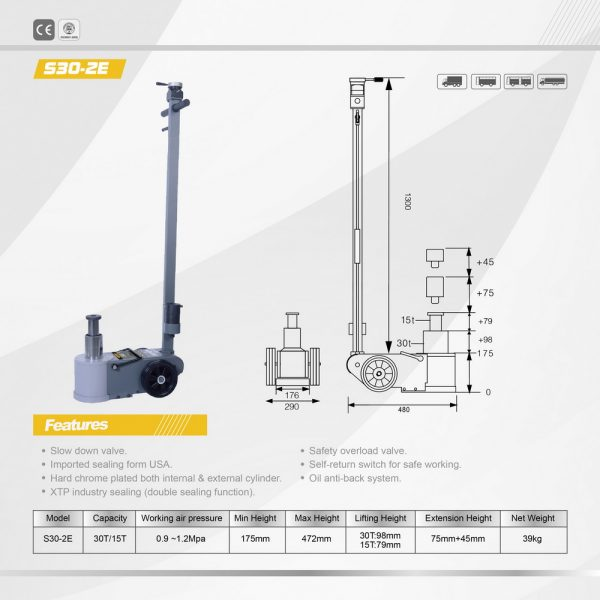 30 Tonne Two Stage Air Jack